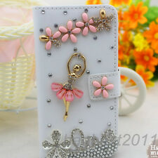 Crystal Magnetic Diamonds pink flowers girl PU leather wallet flip case cover k