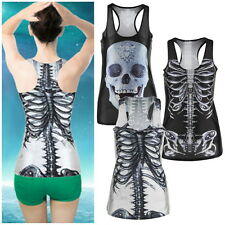 New Gothic Quality X-ray-Skeleton Skull Clubwear Punk T-Shirt Print Tank Top EF