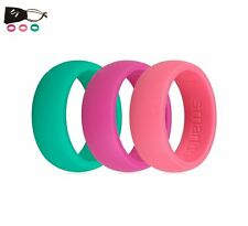 3PCS Men Women Pink Green Purple Wedding Rings Flexible Silicone Rubber Bands