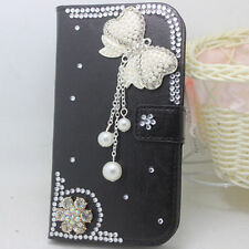 Bling Luxury pearls bow tassel Diamonds Crystal PU Leather flip Cover Case #C