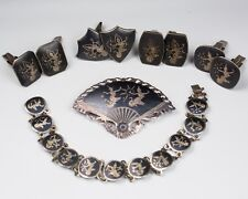 6 pc Lot Vintage Siam Sterling Silver Niello Jewelry Cuff Links, Bracelet, Pin