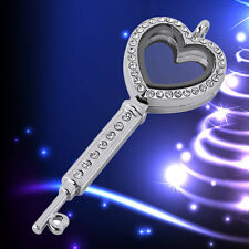 Fashion Love Key Shape Glass Memory with Rhinestone for DIY Necklaces Pendent F5