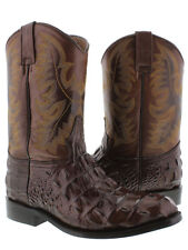 mens brown crocodile alligator roper round boots leather western cowboy