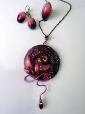 Handmade Abstract Polymer Clay Stylish Pendant Necklace Earrings Ring Set OOAK