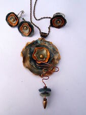 Handmade OOAK Stylish Abstract Polymer Clay Charm Necklace Earrings Ring Set