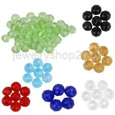 50pcs Faceted Rondelle Glass Crystal 4mm Beads Loose Beads Spacer DIY Jewelry