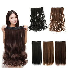 Fashion 3/4 Full head Clip In Hair Extensions Straight Curly With 5 Clips Long D