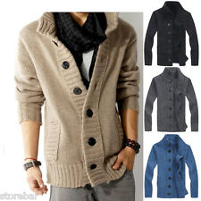 Mens Slim Button Down Knitwear Casual Jumper Sweater Cardigan Coat Jacket Tops