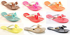LADIES WOMENS BOW JELLY SANDALS FLIP FLOPS SUMMER JELLIES HOLIDAY BEACH SHOES