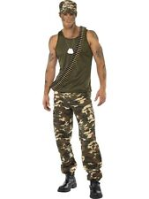 Adult Army Combat Soldier Khaki Camo Mens Fancy Dress Stag Party Costume Outfit
