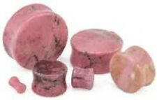 Organic Rhodonite Stone Double-sided Flare Plug/gauge (2 Pieces)