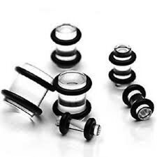 Clear Acrylic Gauges/plugs W Double-sided Gasket/ O-ring Acrylic (2 Pieces)