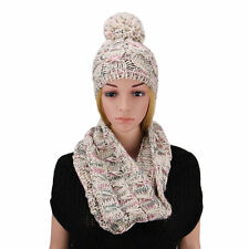 2 Pcs/Set Winter Women Warm Wool Knitted Fashion Scarf And Hat Beanie Cap EP