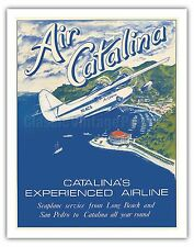 Santa Catalina Island California Vintage Airline Travel Art Poster Print Giclée