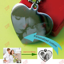 Heart Necklace Pendant Personalized Engraved Name Photo Pet Birthday Lover Gift