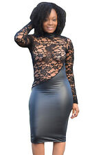 sexy women High Neck Lace Cut out Leatherette bodycon club party cocktail dress