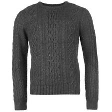 MENS DEEP GREY FIRETRAP JUMPER WINTER CABLE KNIT CREW NECK LONG SLEEVE WARM TOP