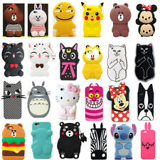 3D Cute Animals Cat Bear Cartoon Soft Silicone Case Cover Back Skin For iPhone