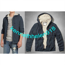 NWT ABERCROMBIE & FITCH MENS SHERPA LINED WAFFLE HOODIE SWEATSHIRT NAVY SIZE XL