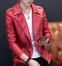 Mens punk faux Leather Coats Zipper Lapel Slim Fit Youth moto Casual Jackets