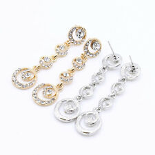 Nice Lady Multilayer Circles Round Rhinestone Crystal Drop Earrings Pretty