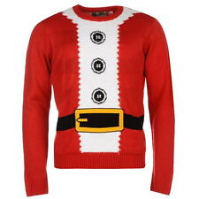 MENS NOVELTY FATHER CHRISTMAS XMAS SANTA CLAUS SUIT KNITTED JUMPER SWEATER TOP