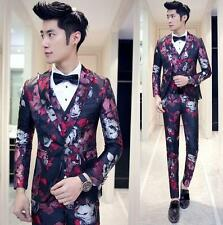 Mens Party Slim Fit Floral Wedding Blazer Suits coat Jacket Pant Vest one botton