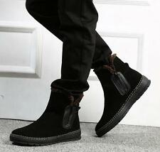 Fashion Mens suede leather zip up ankle boots fur lined winter warm flat shoes