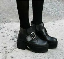 Women Black Punk Gothic Buckle Strap Chunky Heels Platform Ankle Boots shoes