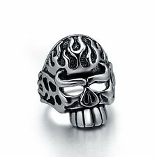 Cool Hollow Skull Silvery Rings Solid 316L Stainless Steel  Men's Unique Design