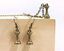 Miniature Jewelry Chess Rook Dangling Earrings Necklace Antique Bronze Set Mini