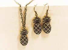 Pineapple Dangling Earrings Necklace Antique Bronze Set Retro Style Fruit Shaped