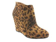 LADIES FAUX SUEDE ZIP UP ANKLE BOOTS CHEETAH DETAIL TAN SIZE 3-8 NEW!