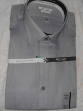 Mens New Van Heusen Solid Gray Pin Cord Long Sleeve Dress Shirt Size L XL