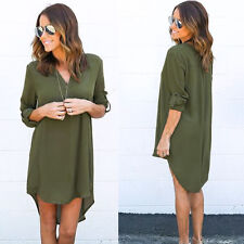 Womens V Neck Casual Loose Tops Shirt Blouse Tunic Boho Dress Oversized S-3XL