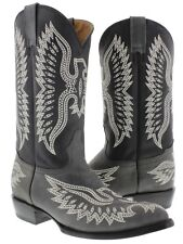 Gray Stitched Embroidered Leather Cowboy Boots Western Rodeo Classic