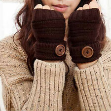 Winter Warm Women Girls Soft Woolen Knit Mittens Gloves Fingerless Knit Gloves