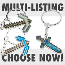 New Minecraft Keyring Diamond Sword Pickaxe Keychain Licensed Official Product