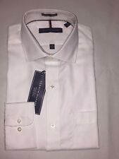 NEW WITH TAGS TOMMY HILFIGER MEN'S REGULAR FIT L/SLEEVE DRESS SHIRTS - WHITE