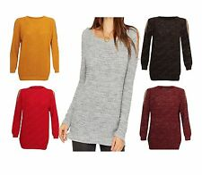 Women Lurex Cut Out Off Shoulder Jumper Knitted Sleeve Knit Stud Cold Ladies Top