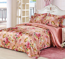 19MM Seamless Printed Silk Duvet Cover Fitted Sheet Pillowcases Set All Sizes