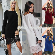 WOMENS LADIES TOP CROCHET LACE LONG SLEEVE PARTY PROM CLUBWEAR JUMPER MINI DRESS