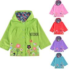 Baby Kids Girls Children Jacket Raincoat Coat Hooded Hoodies 5 Colors 2-9Y KECP