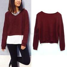 Fashion Women Oversized Knitted Sweater Long Sleeve Tops Pullover Loose Outwear