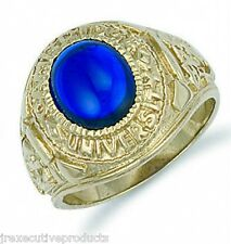 9ct Yellow Gold Gents Blue College Ring - British Made - Hallmafked -11.5 grams