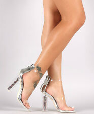 Cape Robbin Silver Open toe Lucite Glitter Heels Holiday Women's shoes Maria-7