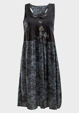 Women's Fashion Dress Black Embroidered Cotton Sleeveless Collared Neck
