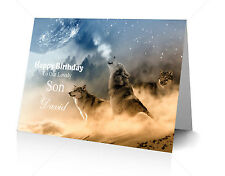 HOWLING WOLVES MOON Mystical Personalised Greeting Card Quality Print A5