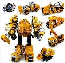 Transformers Robot Action Figure Diecast Trucks 5 in 1 Construction Vehicle Toys