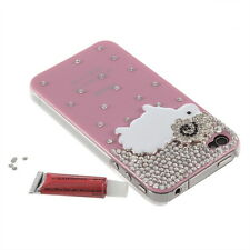 3D Luxury Bling Diamond Sheep Plastic Hard Back Case Cover For IPhone 4G 4S WED